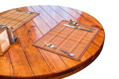 Round wooden table Stock Photos