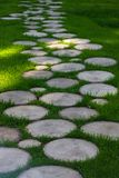 Round wooden walkway on grass in park, selective focus stock images