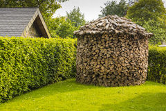 Round woodpile. Big round woodpile for drying firewood Royalty Free Stock Images