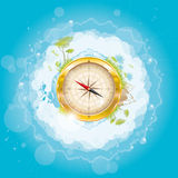 Round the world - nature design with compass Stock Photography
