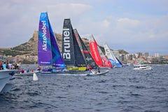 Crossing The start Line Volvo Ocean Race Alicante 2017 Stock Images