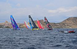 Tightly Packed Volvo Ocean Race Alicante 2017 Royalty Free Stock Images