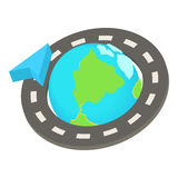 Round the world road trip icon, cartoon style Stock Photography