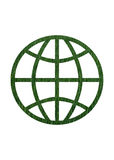 Round World Symbol in Grass Texture Royalty Free Stock Images
