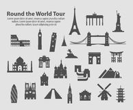 Round the world tour set of vector icons Royalty Free Stock Image