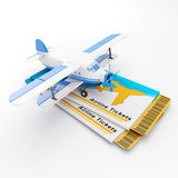 Round the world travel and tourism. Group air tickets and airplane on a white background Stock Photos