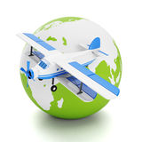 Round the world travel and tourism. Model airplane and land on a white background Stock Images