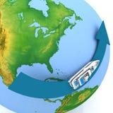 Round-world voyage. Luggage for a round-world voyage royalty free illustration
