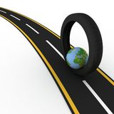Round the world on wheels. 3d conception trips round the world on wheels Stock Photo