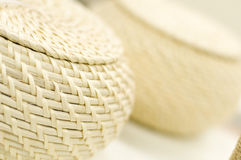 Round woven basket Stock Images
