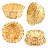 Round woven straw basket Stock Photos