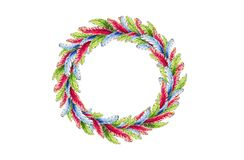 A round wreath of bright feathers of red-blue and green colors in watercolor vector illustration