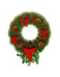 Round wreath Christmas-tree decorations. On the door Stock Image