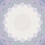 Round Wreath composition frame for your text. fish scales simple Nature background with japanese wave circle pattern Gray lilac vi. Olet purple lavender colors Royalty Free Stock Images