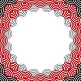 Round Wreath composition frame for your text. fish scales simple Nature background with japanese wave circle pattern, Grey black b. Urgundy maroon card banner Stock Image