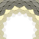Round Wreath composition frame for your text. fish scales simple Nature background with japanese wave circle pattern, Grey black B. Eige brown card banner design Royalty Free Stock Photo