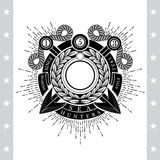 Round Wreath With Cross harpoons. Sea Vintage Black Label Isolated Stock Photography