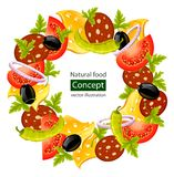Round wreath of food concept Royalty Free Stock Photography