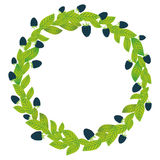 Round wreath with green leaves and blackberry Fresh juicy berries isolated on white background. Vector Royalty Free Stock Image