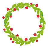Round wreath with green leaves and raspberries Fresh juicy berries isolated on white background. Vector Stock Photo