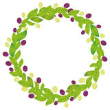 Round wreath with green leaves and red and green grapes Fresh juicy berries isolated on white background. Vector Royalty Free Stock Images