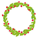 Round wreath with green leaves and Strawberry Fresh juicy berries isolated on white background. Vector Royalty Free Stock Images