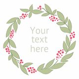 Round wreath with leaves. Vector. For design Stock Photo
