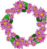 Round wreath with pink water lotus and green leaves Royalty Free Stock Images