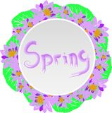 Round wreath with purple water lotus and green leaves Stock Photos