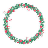 Round wreath with red roses isolated on white. For season design, announcements, postcards, posters Royalty Free Stock Photography