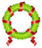 Round wreath with ribbon Royalty Free Stock Photo