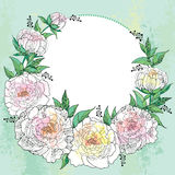 Round wreath with seven peony and leaves with an empty place for text on the green textured background. Royalty Free Stock Images