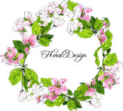 Round wreath with spring tree flowers Stock Photo