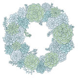 Round wreath with succulentes Royalty Free Stock Photos