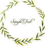 Round wreath with watercolor green leaves and branches Royalty Free Stock Image