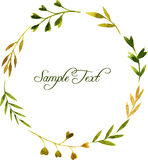 Round wreath with watercolor green leaves and branches Stock Image