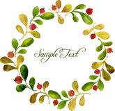 Round wreath with watercolor green leaves and red berries Stock Photos