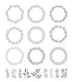 Round wreaths vector icons. Round leaves and flower wreaths vector icons Stock Photos