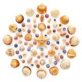 Round wzór skorupy, rozgwiazda i szklani koraliki na białym tle, fotografia stock