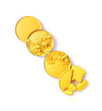 Round yellow crashed eyeshadow for make up as sample of cosmetic product Stock Photography