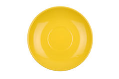 The round yellow dish isolated Stock Photos