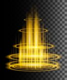 Round yellow glow rays night scene with sparks on transparent background. Empty light effect podium. Magic fantasy portal.