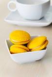Round yellow marron cookies Stock Photo