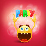 Round yellow smiley face with party title Stock Photography