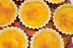 Round yellow tarts Stock Photo