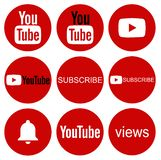 Round YouTube icon collection on white vector illustration