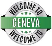 Round złoty powitanie Geneva odznaka ilustracji