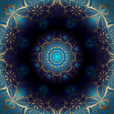 Round złoty wzór na błękitnym tle Zdjęcia Royalty Free
