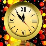 Round zegar na jaskrawym abstrakcjonistycznym tle Obrazy Stock
