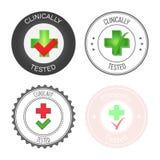 Round znaczek dla produktu, medycyny i usługa zatwierdzonego i testowanego, Wektorowa ilustracja w różnorodnych wersjach ilustracji